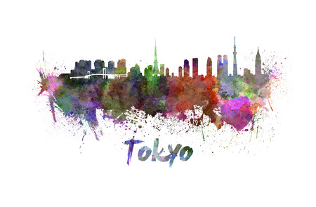 clipping  path: Tokyo skyline in watercolor splatters with clipping path