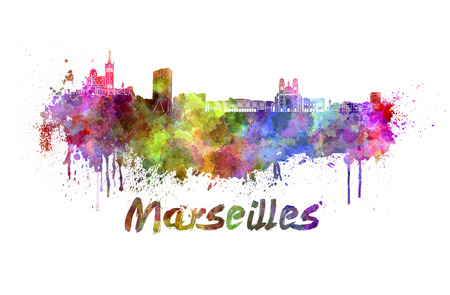 Marseilles skyline in watercolor splatters with clipping path photo