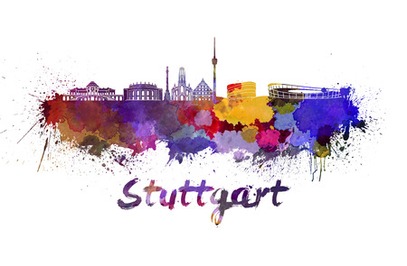 stuttgart: Stuttgart skyline in watercolor splatters with clipping path