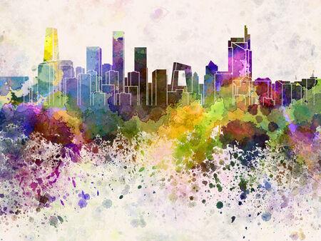 Beijing skyline in watercolor background 版權商用圖片