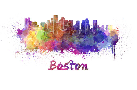 boston: Boston skyline in watercolor splatters with clipping path Stock Photo