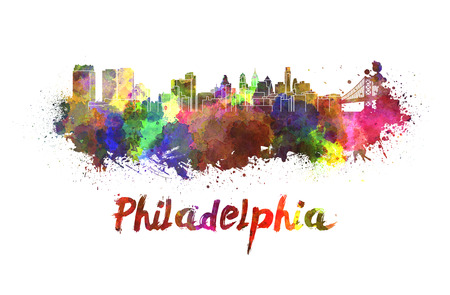philadelphia: Philadelphia skyline in watercolor splatters with clipping path Stock Photo
