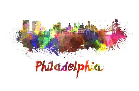philadelphia: Philadelphia skyline in watercolor splatters with clipping path Stock Photo