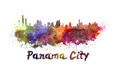 panama: Panama City skyline in watercolor splatters with clipping path