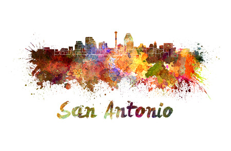 San Antonio skyline in watercolor splatters with clipping path photo