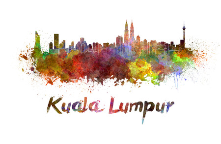 Kuala Lumpur skyline in watercolor splatters with clipping path