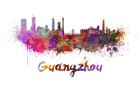 Guangzhou skyline in watercolor splatters with clipping path Stock Photo