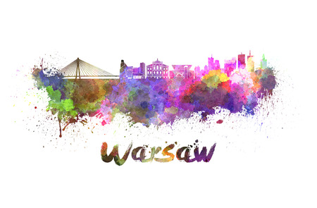 warsaw: Warsaw skyline in watercolor splatters with clipping path