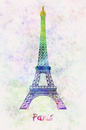 tour eiffel: Paris Landmark Tour Eiffel in watercolor splatters with clipping path Stock Photo