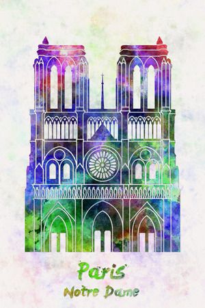 dame: Paris Landmark Notre Dame in watercolor splatters with clipping path Stock Photo