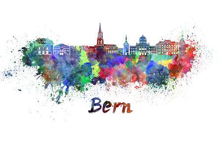 Horizon de Berne dans les éclaboussures d'aquarelle avec chemin de détourage Banque d'images - 28918613