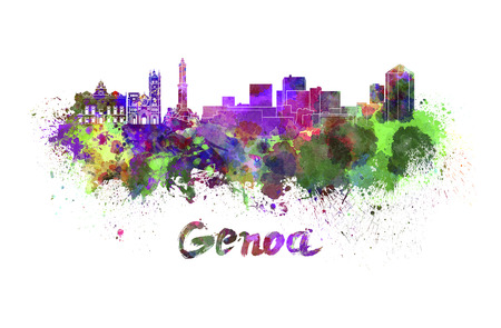 Genoa skyline in watercolor splatters with clipping path