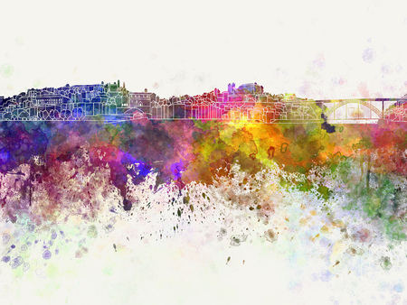 abstract art: Porto skyline in watercolor background