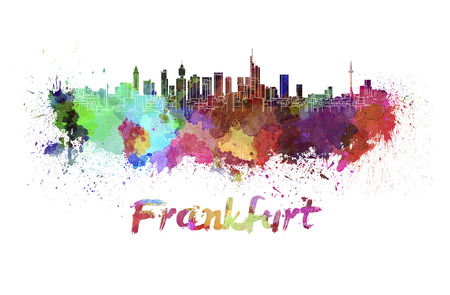 frankfurt: Frankfurt skyline in watercolor splatters with clipping path Stock Photo