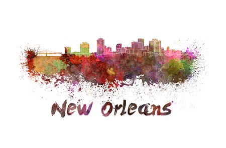 new orleans: New Orleans skyline in watercolor splatters with clipping path