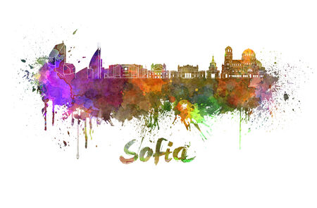sofia: Sofia skyline in watercolor splatters with clipping path Stock Photo
