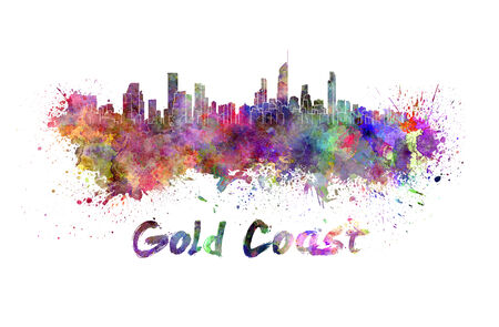 gold coast: Gold Coast skyline in watercolor splatters with clipping path Stock Photo