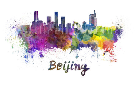 Beijing skyline in watercolor splatters with clipping path