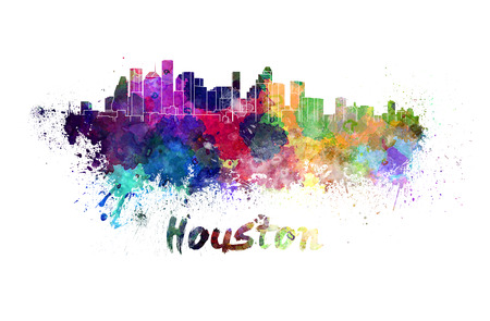 houston: Houston skyline in watercolor splatters with clipping path