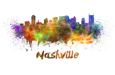nashville: Nashville skyline in watercolor splatters with clipping path