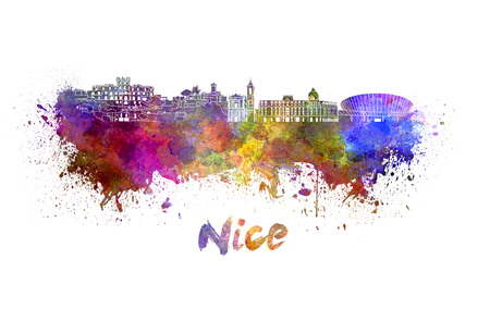 nice france: Nice skyline in watercolor splatters with clipping path