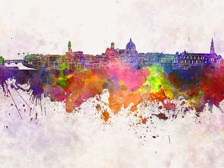 florence: Florence skyline in watercolor background
