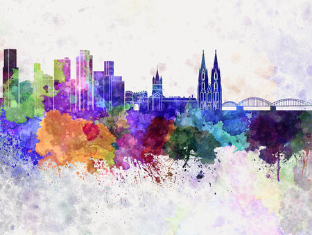 cologne: Cologne skyline in watercolor background