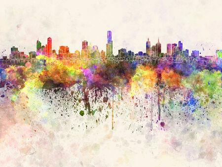 melbourne: Melbourne skyline in watercolor background