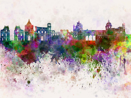 palermo italy: Palermo skyline in watercolor background Stock Photo