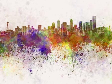 水彩画背景でシアトルのスカイライン 写真素材