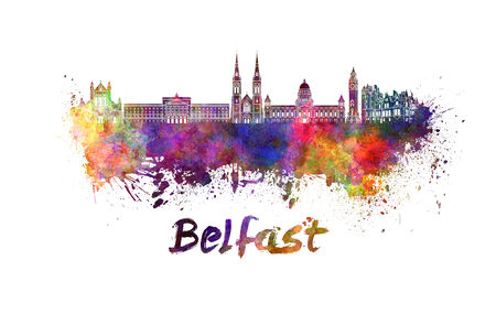Belfast skyline in watercolor splatters with clipping path