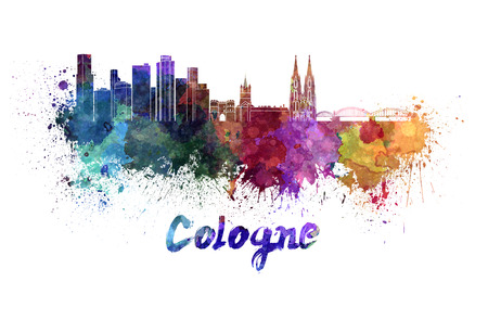 Cologne skyline in watercolor splatters with clipping path