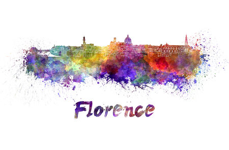 florence   italy: Florence skyline in watercolor splatters with clipping path