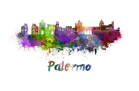 palermo italy: Palermo skyline in watercolor splatters with clipping path