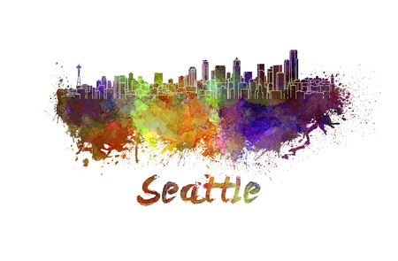 seattle: Seattle skyline in watercolor splatters with clipping path