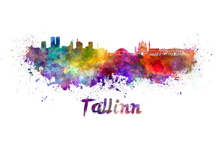 clipping  path: Tallinn skyline in watercolor splatters with clipping path
