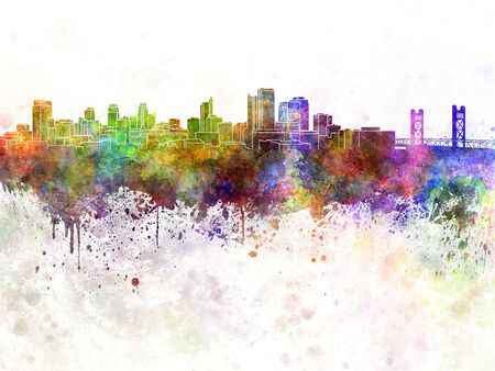 sacramento: Sacramento skyline in watercolor background