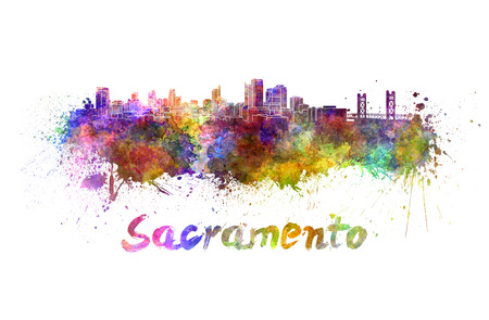 Sacramento skyline in watercolor splatters with clipping path