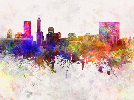 indianapolis: Indianapolis skyline in watercolor background Stock Photo