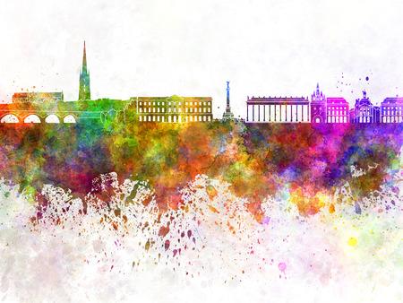 bordeaux: Bordeaux skyline in watercolor background Stock Photo