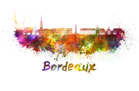 Bordeaux skyline in watercolor splatters with clipping path