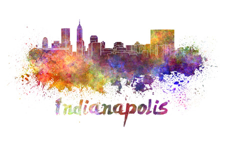 indianapolis: Indianapolis skyline in watercolor splatters with clipping path