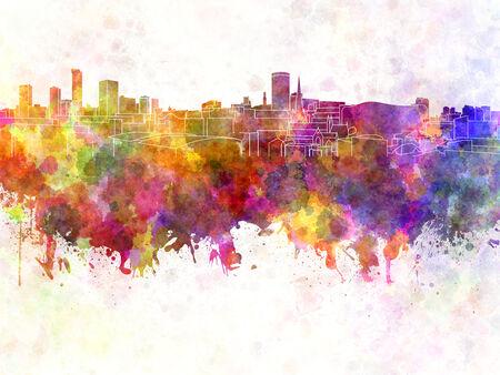 birmingham: Birmingham skyline in watercolor background Stock Photo