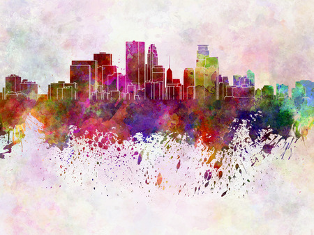 Minneapolis skyline in watercolor background photo