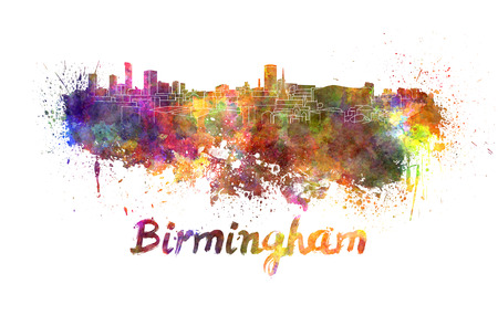 birmingham: Birmingham skyline in watercolor splatters with clipping path
