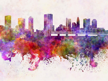 Columbus skyline in watercolor background