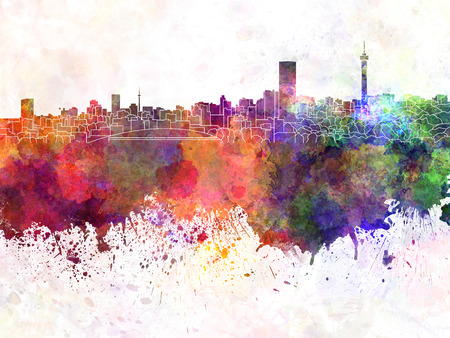 Johannesburg skyline in watercolor background photo