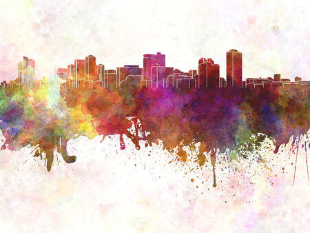 manila: Manila skyline in watercolor background