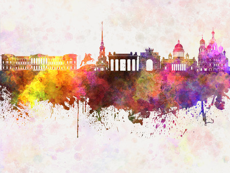 saint petersburg: Saint Petersburg skyline in watercolor background Stock Photo