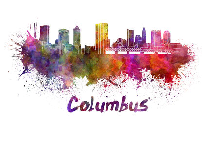 columbus: Columbus skyline in watercolor splatters with clipping path